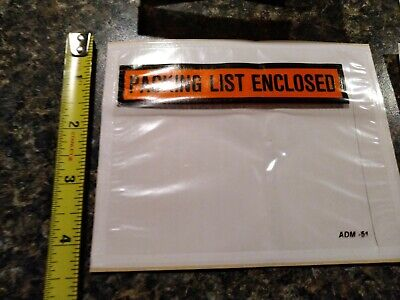 100 Packing List Slip Envelopes Clear 4.5 X 5.5 Enclosed Pouch Shipping Label