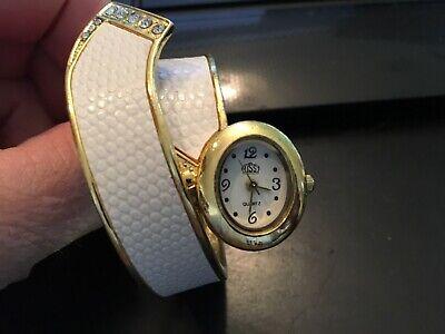 Ladies USS Gold Tone and White Bangle Bracelet Quartz Watch ()