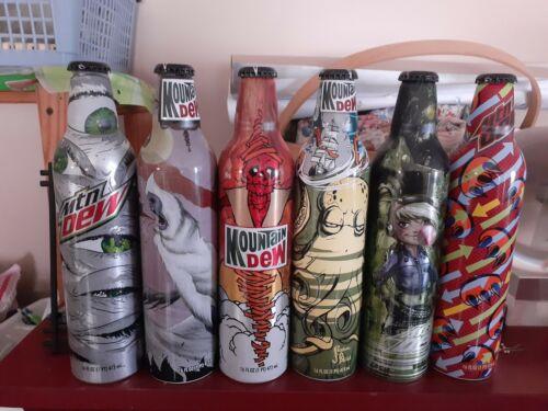 Mountain Dew 6 Green Label Art Bottle Lot by Pepsi