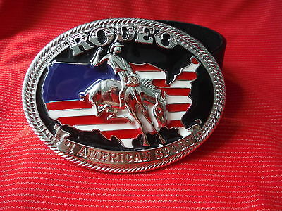 BIG AMERICAN FLAG COWBOY RODEO BUCKING BRONCO BRONC BUCKLE BLACK LEATHER BELT - Big Cowboy Gürtel