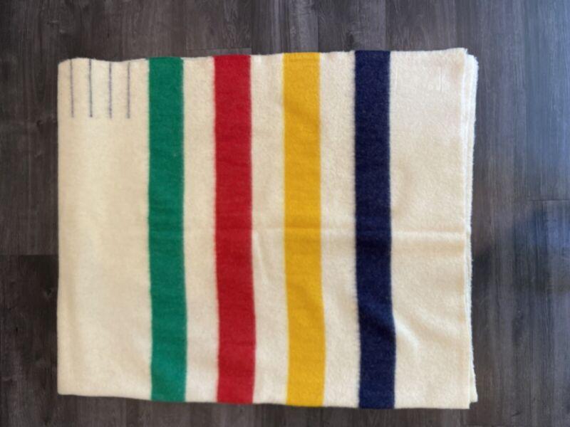 Vintage Hudson Bay Point Striped Blanket 100% Wool 4 Point Blanket 72x90