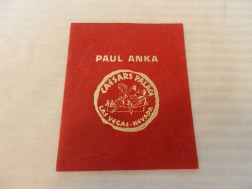 Paul Anka Caesars Palace Las Vegas Table Card Program 1970s Circus Maximus