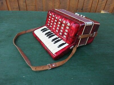 "Vintage RED Accordion Made in Germany 10"" Keyboard"