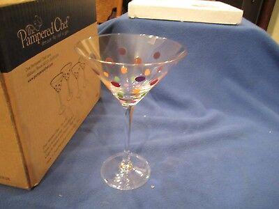The Pampered Colored Dot Stemware Set of 4 Martini Glasses Retired #2838 Martini Dot