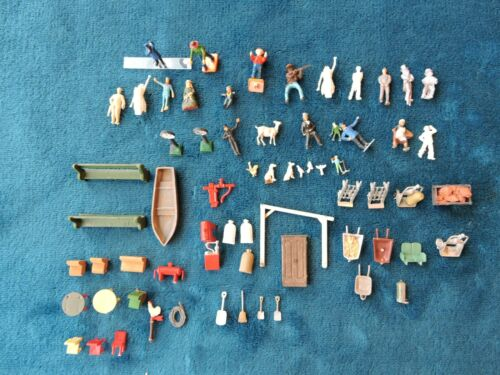Large Vintage HO Scale Lot of  People Figures and Detail Accessories~ L@@K