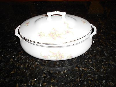 Semi Vitreous Oval Covered Vegitable Bowl Roses Edwin M Knowles China Co. USA