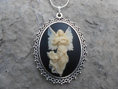 GUARDIAN ANGEL WITH BUTTERFLY WINGS CAMEO NECKLACE!!! .925 SILV. PLATED CHAIN!!! - Butterfly With Angel Wings