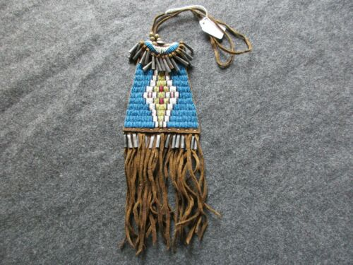 NATIVE AMERICAN BEADED TOBACCO POUCH, INDIAN LEATHER MEDICINE BAG,   ATL-03509