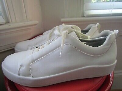ZARA MAN WHITE LEATHER MEN'S WALKING SHOES SIZE 44 (EUROPEAN)