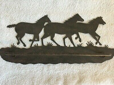 Rustic Metal Laser Running  Horses Towel Bar New Horse Towel Bar