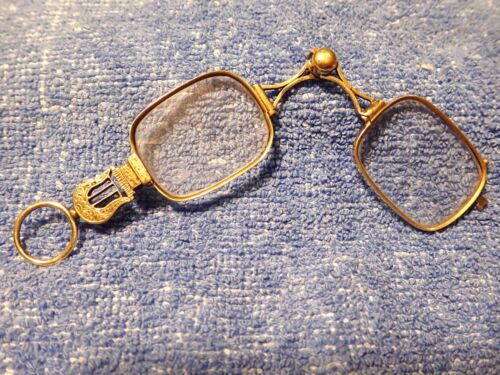 """VICTORIAN SOLID 15K GOLD """"SLIDER"""" LORGNETTE IN GREAT CONDITION! LYRE  HANDLE!"""