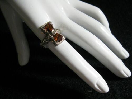Art Deco 14k White Gold Filigree Golden Citrine/Diamond Antique Ring,Sz 8, 1.78c
