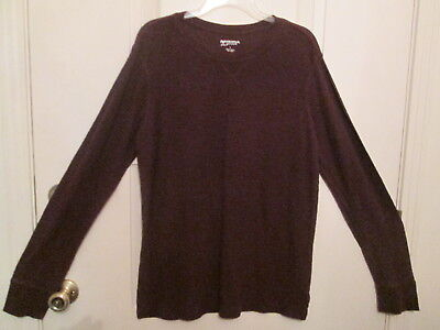Cotton Thermal Jeans - Men's Arizona Jeans Co. Maroon Henley Thermal Shirt 100% Cotton Size L NWOT