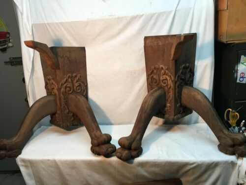 Architectural Salvage Large  Oak Claw Foot Table Legs Art Pair 1800s