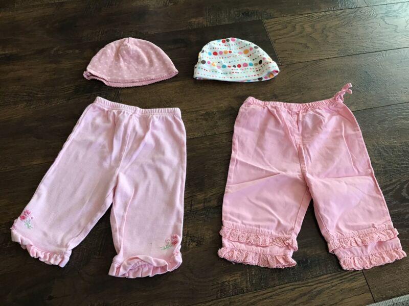 Lot Of 4 Baby Girls Cotton Pants & Hats/cap 6m