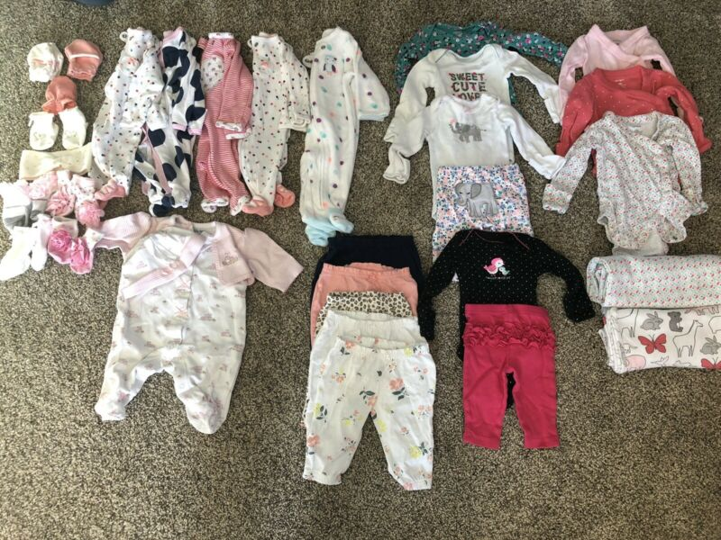 Newborn Baby Girl Clothes Lot Sleepers Long Sleeve Bodysuits Pants
