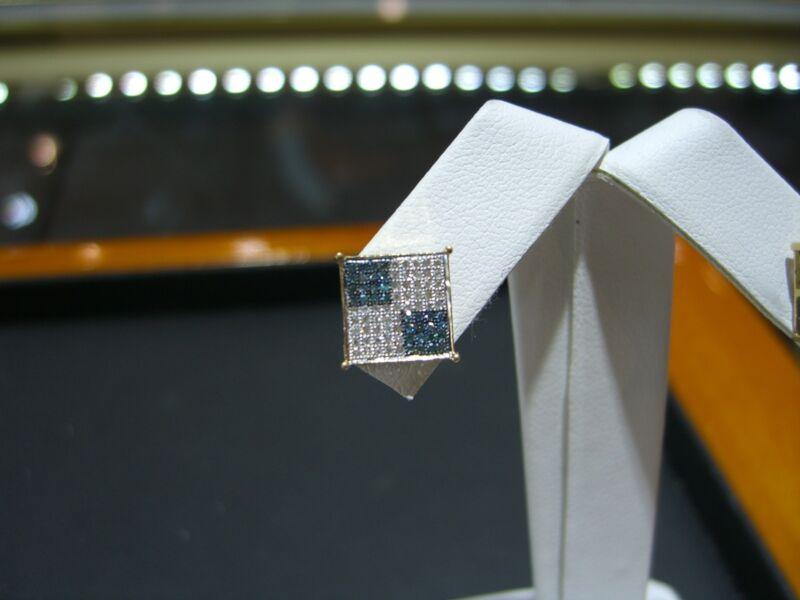 Fine Diamond Square Stud Earrings 0.50 Carat Blue And White Diamond 14 Karat