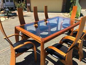 Unique glass Dining table & 8 chairs / wooden / wood / timber
