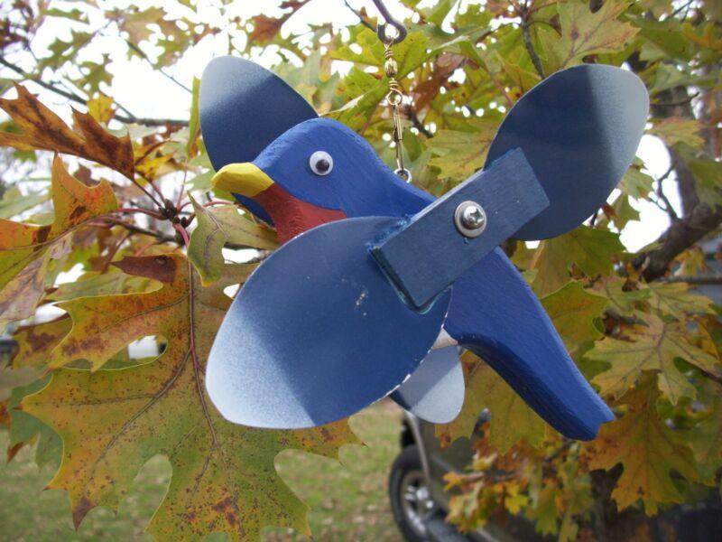 Blue Bird Mini Whirligigs Whirligig Windmill Yard Art Hand made from wood