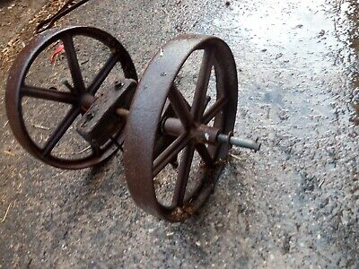 Vintage Cast Iron Wheels with Axle- Shepherds Hut