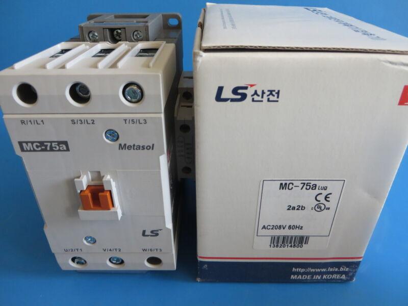 LS Metasol MC-75A 2a2b Contactor 3P 75A 208VAC Coil Lug Terminals