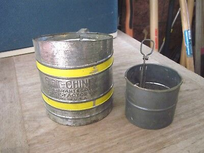 Two antique Metal Sifters, 2 cup is SIFT-CHINE, 1 cup maker??, Both made USA