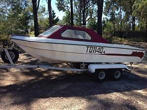 HALF CABIN BOAT WITH 4 WHEEL TRAILER Goodna Ipswich City Preview