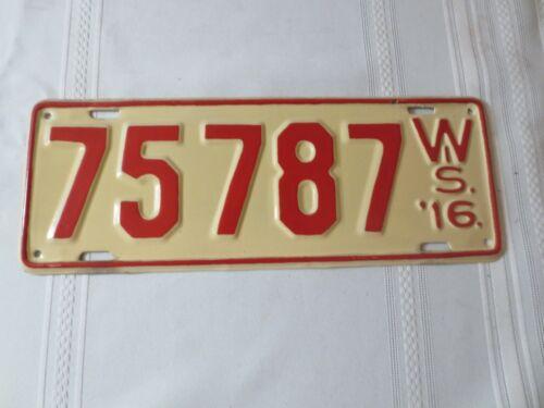 1916 WISCONSIN RESTORED LICENSE PLATE 75787
