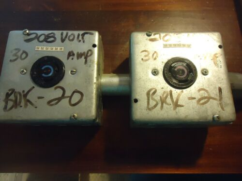 2-- Hubbell 30 Amp 250v Twist Lock Receptacles In 3 X 4 1/2x 4 1/2 Inch Boxes