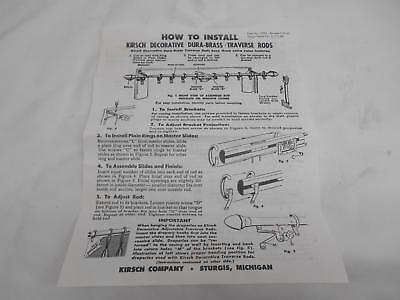 Old Vtg 1960's HOW TO INSTALL DECORATIVE DURA-GLASS TRAVERSE RODS INSTRUCTIONS