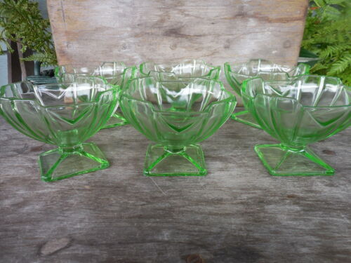 Art Deco Design Green Glass Set of 6 Footed Sherbet Ice Cream Bowl Dish