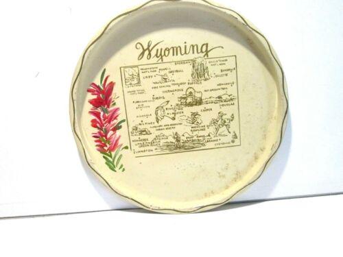 State of  Wyoming Metal Bar Tray, Tourist Souvenir, Map Flower, Vintage Nashco