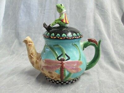 House of Hatten Inc Ceramic FROG & DRAGONFLY Teapot Peggy Fairfax Herrick