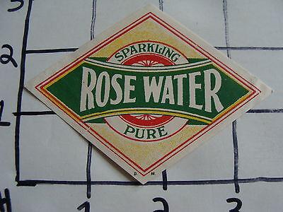 Original Vintage Label: Sparkling ROSE WATER pure