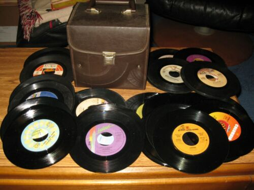 LOT OF (50) 45 RPM's Records & Case