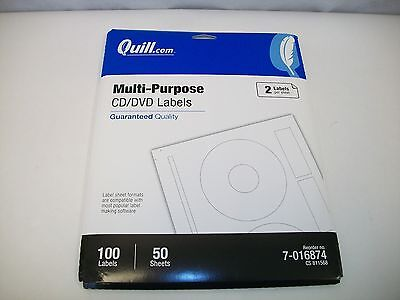 Cddvd Labels Multi-purpose White 8-12 X 11 50 Sheets 100 Labels