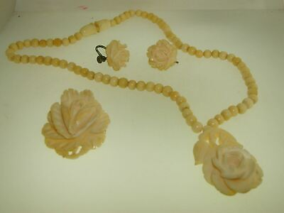 1930s Art Deco Style Jewelry ANTIQUE 1930'S ERA JAPAN CARVED PIERCED ROSE NECKLACE, PIN & EARRINGS!   $42.95 AT vintagedancer.com