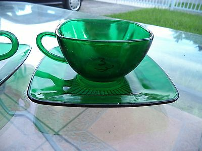 DEPRESSION GLASS CHARM FOREST GREEN (ANCHOR HOCKING) TWO CUPS & SAUCERS.....WOW!