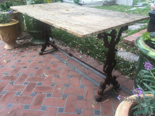 Antique French Garden Wrought Iron Dining Table Base with Beautiful Marble Top