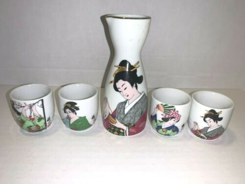 Japanese Geisha Girl Sake Set of 5 Gold Rim Decanter and 4 Cups Japan Pre-owned