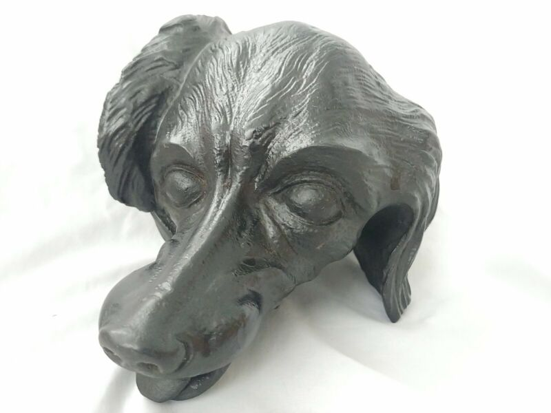 Antique Hand Carved Wood Dog Head Sculpture