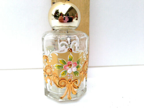 Vintage Miniature Murano Hand Painted Gilt Glass Bottle Italy Keepsake