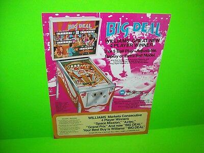 Williams BIG DEAL Pinball Machine Promo Flyer Original 1977 Flipper Game Artwork