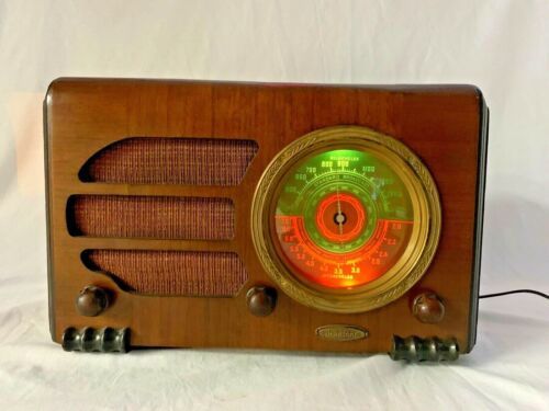Vintage Acratone Round Dial Wooden Tube Radio - Powers On and Tunes!