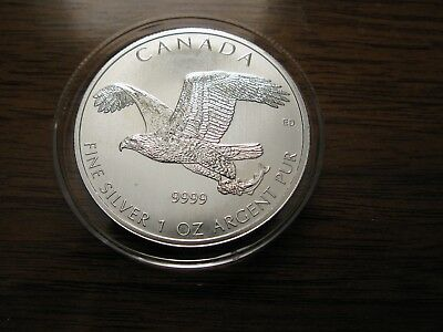 "2014 Canada ""Birds of Prey Series"" Bald Eagle .9999 Silver 1oz $5 Coin"