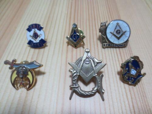 Lot of 6 PCS  Masonic Lapel Pins Badge Mason Freedom B2