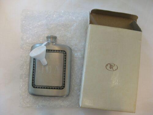 Royal Selangor 5oz Satin Finished Metal Hip Flask Engraved w/box & Funnel in EC