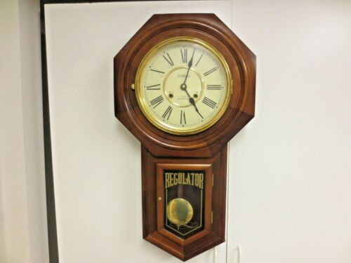 Waltham 31-Day Chime Clock-Schoolhouse Regular Key Wind Wall Clock-WORKS