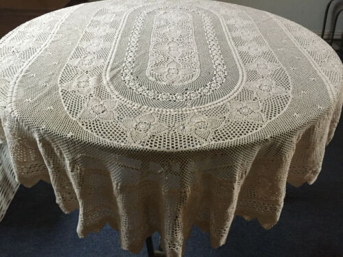 VINTAGE ANTIQUE Large Oval Beige Handmade Crocheted Cotton Tablecloth 180x120cm
