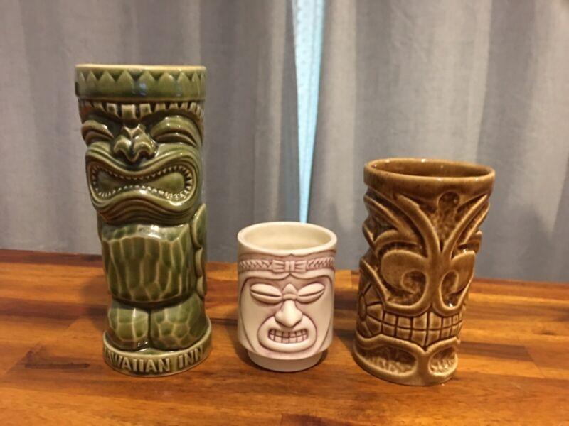 Vintage Set 3 Hawaii Mug Cups Tiki Farm Jimmy Hawaiian Inn Bob 1973, Super Cool!